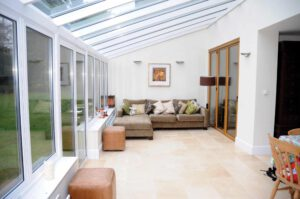 lean-to with bifolding doors and contemporary roofs