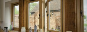flush casement PVCu window in a kitchen