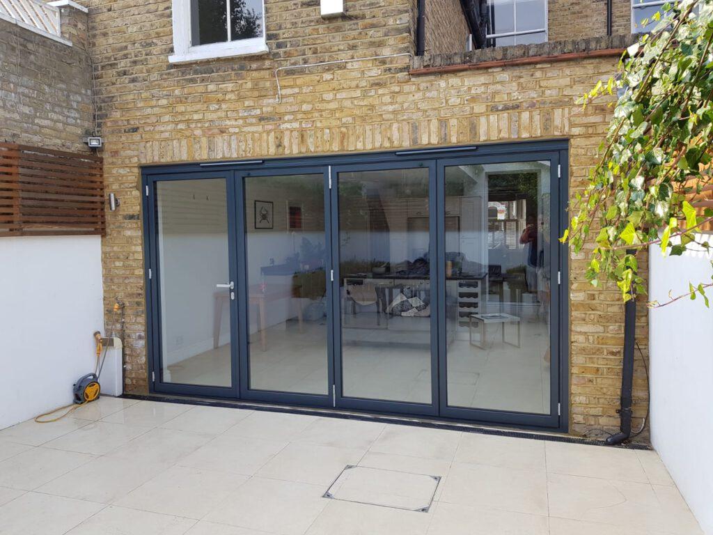 Schuco bifolding doors in London house.